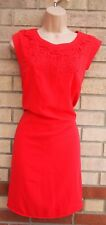 OASIS RED FLORAL CROCHET LACE NECK SHIFT TUNIC SMOCK BAGGY PARTY DRESS 12 M