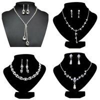 Women Bride Bridesmaid Rhinestone Necklace Earrings Crystal Wedding Jewelry Set