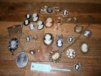 Lot of Cameo Jewelry: Necklaces, Brooches, Hair Barrette, Hair Comb, Ring