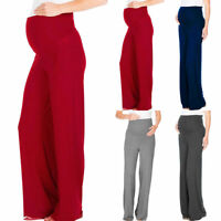 Maternity Pregnant Womens Long Pants Wide Leg Loose Palazzo Yoga Dance Trousers