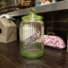 New listing Anchor Hocking Green Depression Ribbed Hoosier Style Canister w/Glass Knob Top