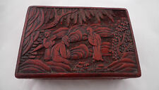 18th/19th century chinese cinnabar laqué box 14.2cm x 9.5cm x 5cm