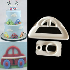 2pcs Car Plastic Fondant Cutter Cake Mold Fondant Cupcake Decorating Tools
