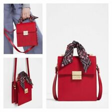 NEW ZARA CROSS BODY BAG WITH SCARF DETAIL IN RED