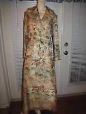 Vintage Oriental Silk Brocade Long Heavy Weight Robe - Women's S/M