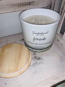 Scentsational Fireside 3 Wick Candle 26 oz Hand Poured In USA Fall Candles NEW