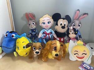 Vintage Disney plush toys Lot Of 11 Mickey Minnie Dory Flounder Elsa Tinkerbell