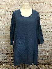 Moonshine Fashion Tunika 50%Leinen Shirt Lagenlook Übergröße 44 46 48 Neu blau