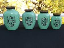 Hazel Atlas Green Jadeite Jadite Art Deco Canister Set Coffee Sugar Flour Tea