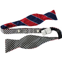 Men's Brooks Brothers Red White Blue Black White Check 100% Silk Bow Tie NWT
