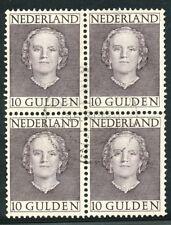 10 GULDEN JULIANA  EN FACE 1949 NR. 537 IN PRACHT BLOK VAN 4   Zw463