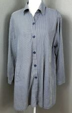 Dorman L Tunic Top Blouse Striped Button Front Ticking Cotton Pockets Blue Gray