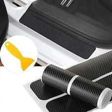 4Pc Carbon Fiber Car Scuff Plate Door Sill Sticker Panel Protector and a Scraper