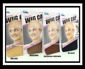 2 PCS Dream Deluxe Wig Cap Stocking / Weaving Cap Wig Liner Brown Black Beige