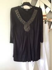 GEORGE Black Beaded Elbow Sleeve Stretch Tunic Top Blouse S 10 12 PC