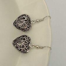 Retro Tibet Silver Tone Earrings Heart Bead Dangle Women Charms Fashion Jewelry