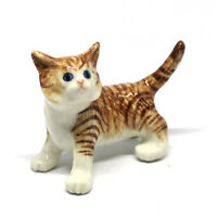 Handmade Dollhouse Miniatures Ceramic Porcelain Brown Cat Pet Lovers Gifts