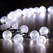 Cadena De Luces solares del jardín Hadas 30 Blanco LED Cristal Bola de Globo resistente a la intemperie