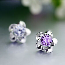 AAA Cubic Zircon 925 Sterling Earring Silver/Purple Pure Silver Ear Crystal Stud