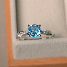 1.58 Ct Natural Diamond Round Cut Blue Topaz Rings 14K White Gold Rings Size 6 7