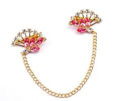 Pink Gems White Rhinestones Gold Fans Alloy Metal Hair Chains Comb - SHIPS FAST!