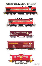 """Norfolk Southern Freight Train 11""""x17"""" Poster by Andy Fletcher signed"""
