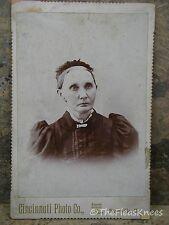 """Antique CDV Photo ELDERLY VICTORIAN WOMAN from Adduville ILL """"Grandma Gacbe"""""""