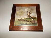 Vintage USA made ceramic tile and wooden frame Windmill scene decorative trivet
