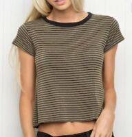 brandy melville olive green/black stripe crop crewneck ringer top NWT sz S/M