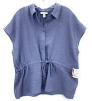 NWT Nordstrom Signature Cinch Waist Short Sleeve Blue Top Womens Size XXL