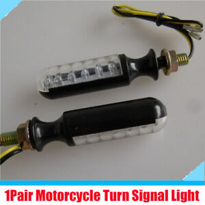 2Pcs Motorcycle Bike Amber 12 LED Turn Signal Indicator Light Blinkers 2 Wires