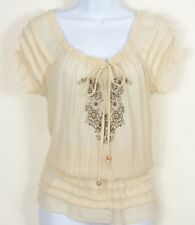 Papaya S Ivory Peasant Top Short Sleeve Blouson Wooden Beads Embroidered Pleats
