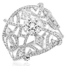 Band Cocktail Right Hand Ring Filigree 18K White Gold Pave Diamond Cluster Wide