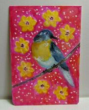 ACEO Original Miniature Painting EASTERN BLUEBIRD From Mini Art Journal