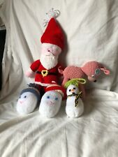 Hand Crafted Knitted Christmas Decorations Santa.  Snowman
