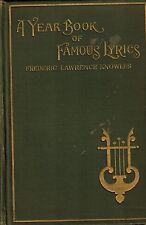 1901 British American Poems Year Book of Famous Lyrics, Music, Songs, Ballads