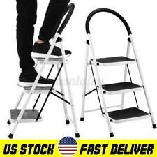 Non Slip 3 Step Aluminum Ladder Folding Platform Stool 330lbs Load Capacity Usa