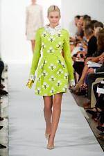 NWT $5,890 Oscar de la Renta Chartreuse Silk Faille Embroidered Dress Size 6