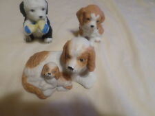 Home Interior Porcelain Set Of 3 Different Puppies