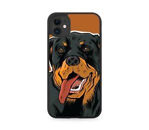 Novelty Rottweiler Sticker Design Rubber Phone Case Dog Gift Present Face K233