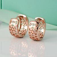 Women Flower Hoop Earrings 18k Rose Gold Filled 14MM GF Fashion Jewelry