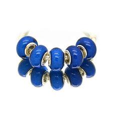 5pcs Silver Murano Dark Blue Acrylic Charms Beads Fit European Charm Bracelet