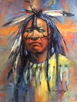Indian Shaman Aboriginal Collector SANTA FE WESTERN ART limited edition signed