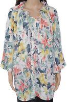Trisha Tyler Womens Blouse Blue Size 2X Plus Tie-Neck Floral-Print $98 868