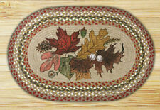 BRAIDED HAND STENCILED OVAL PATCH AREA RUG By EARTH RUGS--AUTUMN LEAVES