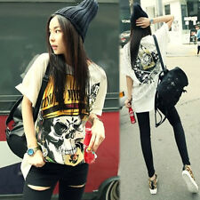 Womens Big Skull With Rock Print Cotton Long White color T Shirt S TS004-06S