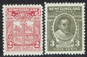NEWFOUNDLAND 1910 300TH ANNIVERSARY 2C MAP AND 3C JOHN GUY