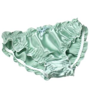 Womens Ruffles Deco Lolita Knickers 100% Silk Luxury Hipster Bikini Panties Cute