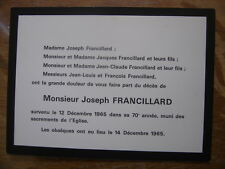 1965 Faire Part Deces FRANCILLARD Joseph