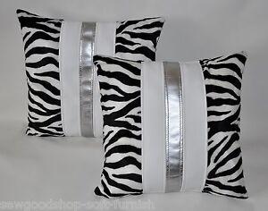 "2 Zebra White & Silver Faux Fur & Faux Leather Cushion Covers 16"" 18"" 20"""